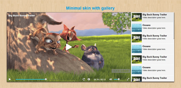Ultimate Video Player Plugin - Minimal Skin With Gallery