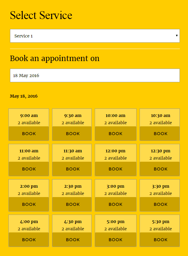 Webba Booking WordPress Plugin - Select Service