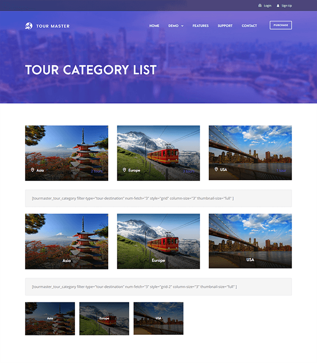 Tour Master Wordpress Plugin - Tour Category List