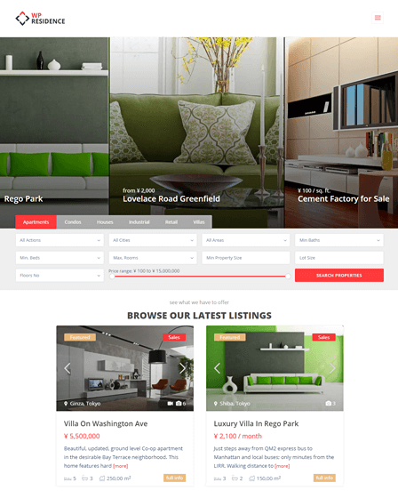 WP Residence Best WordPress Real Estate Theme