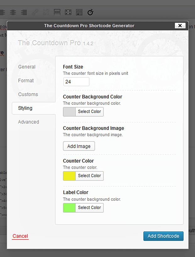 Countdown WordPress Plugin - Setting Panel