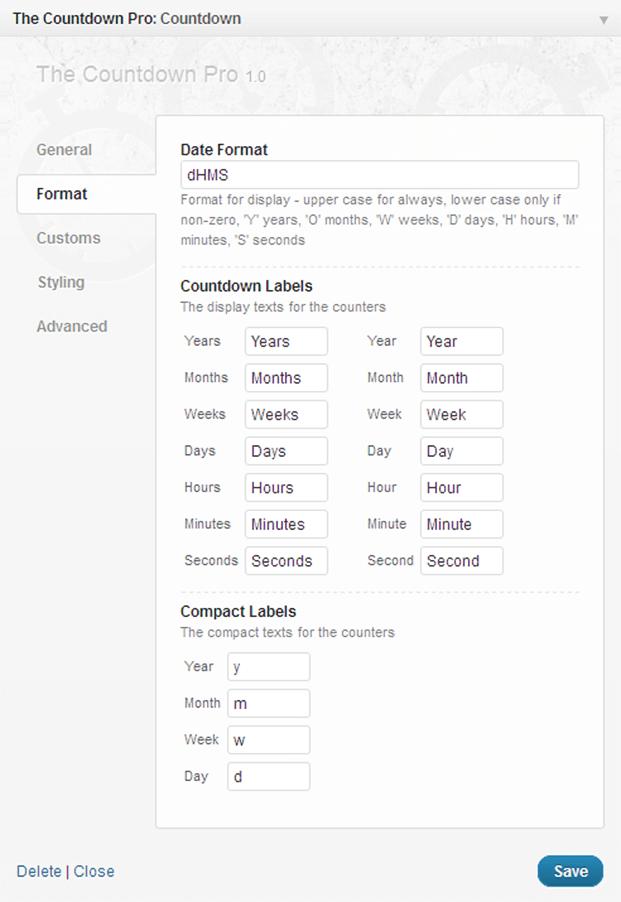 Countdown WordPress Plugin - Date Formats