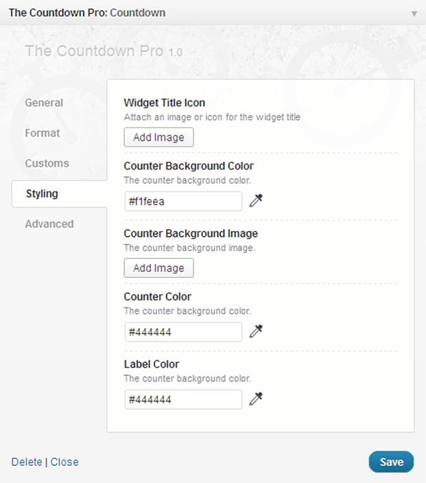 Countdown WordPress Plugin - Styling