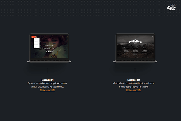 WordPress Fullscreen Menu Plugin - Different Menu Buttons Examples