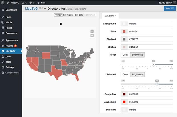 MapSVG WordPress Mapping Plugin - Color Settings