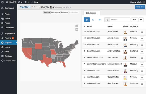 MapSVG WordPress Mapping Plugin - Data Base