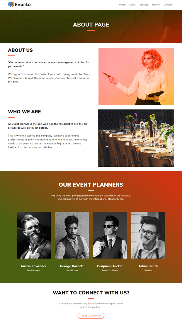 About - Event Planner WordPress Theme