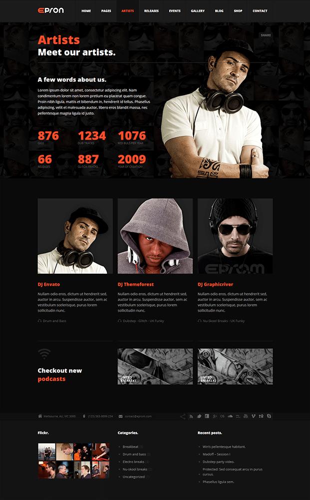 Artists - Best Music WordPress Theme