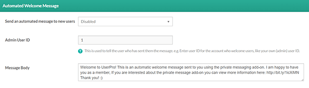 Automated Message-Private Message WordPress Plugin