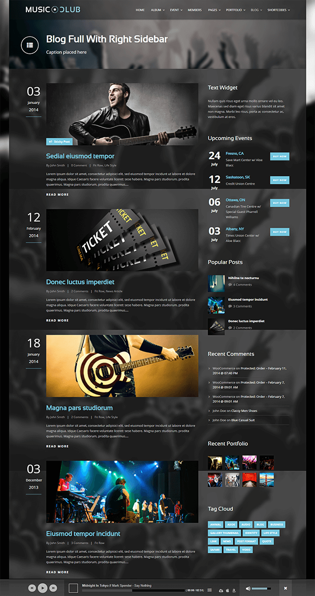 Blog - Music Club WordPress Theme