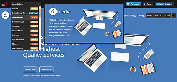 Drop Down View Of WordPress Theme Switcher Plugin