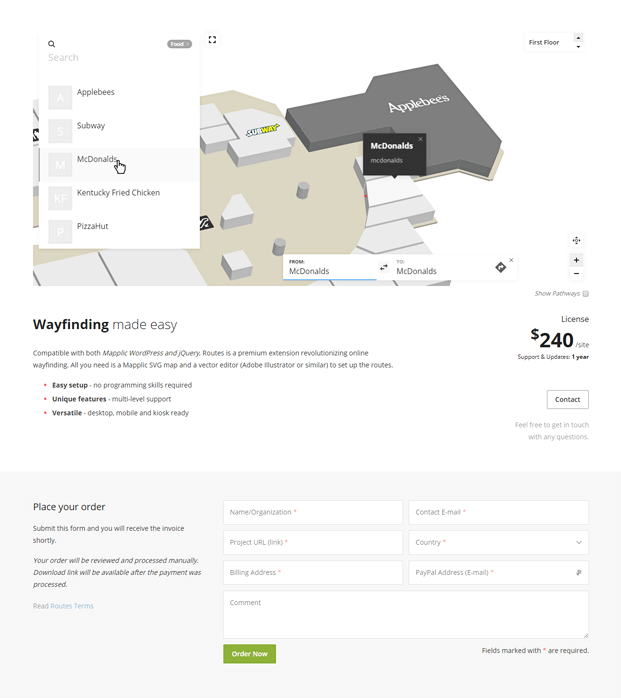 Food Plaza WordPress Interactive Map Plugin