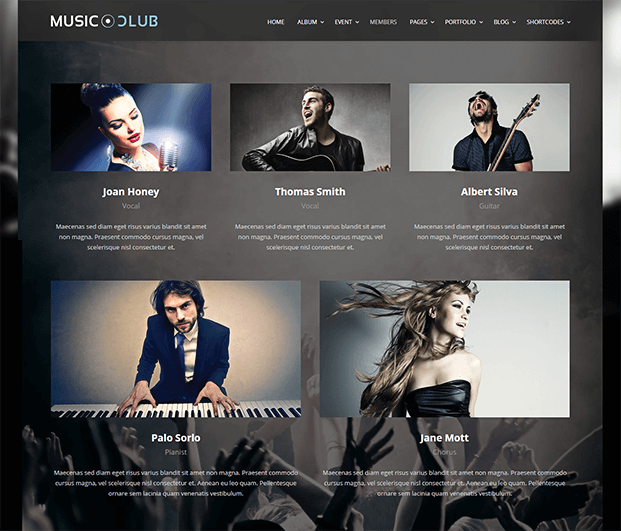 Members - Music Club WordPress Theme