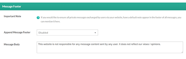 Message Footer-Private Message WordPress Plugin