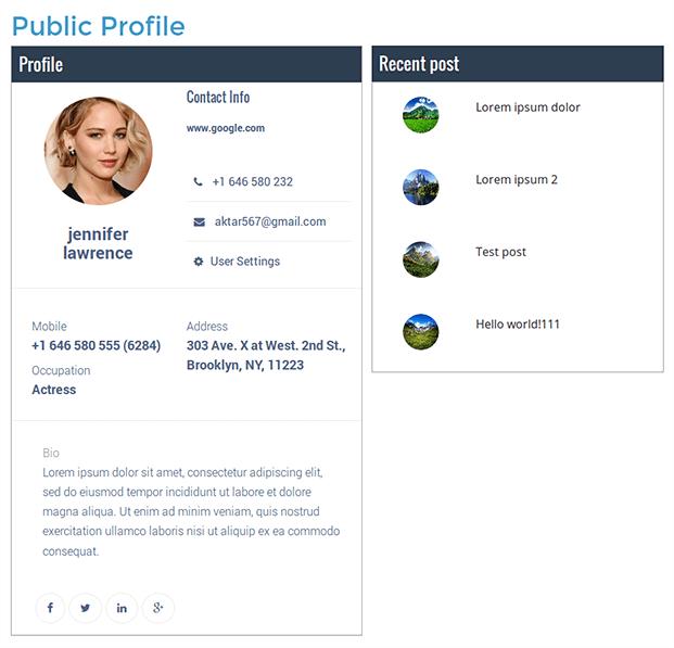 User Profile WordPress Plugin - Recent Posts