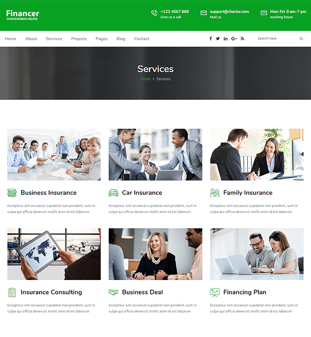 Services - WordPress Theme For Finance