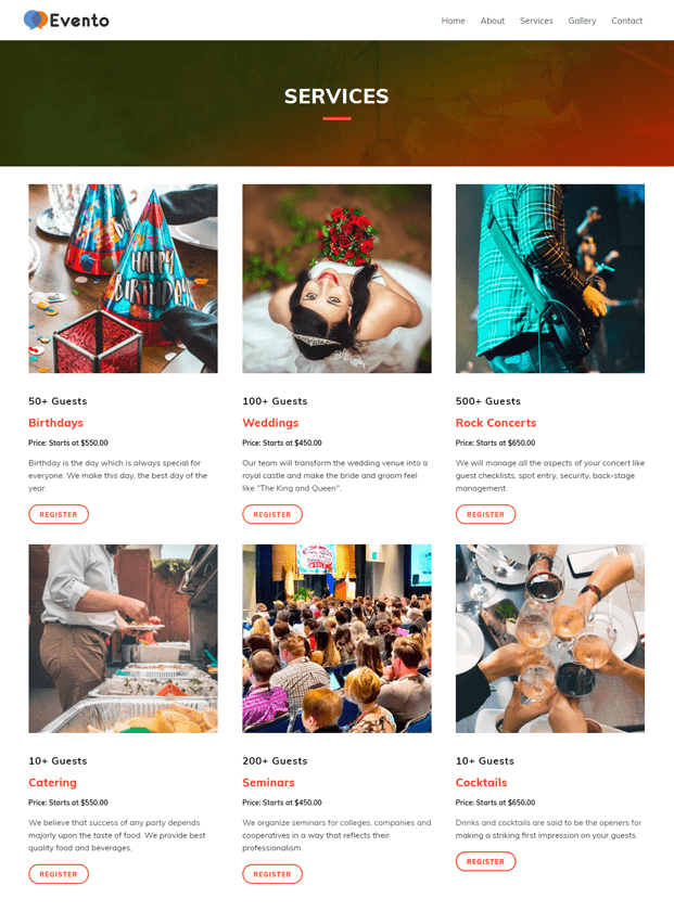 Services - Event Planner WordPress Theme