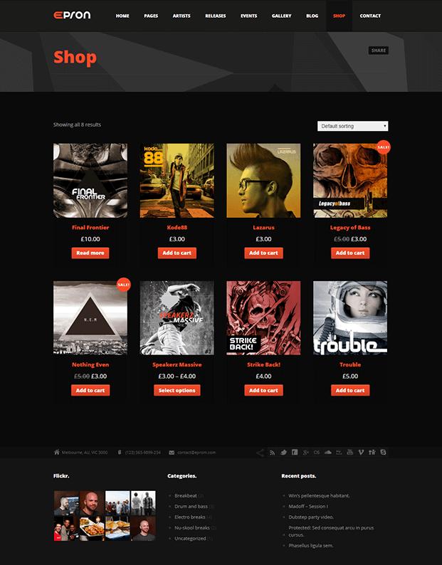 Shop - Best Music WordPress Theme
