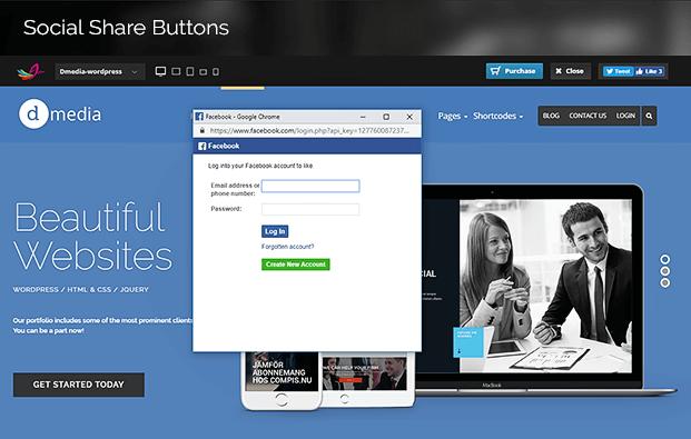 Social Sharing Button WordPress Theme Switcher Plugin
