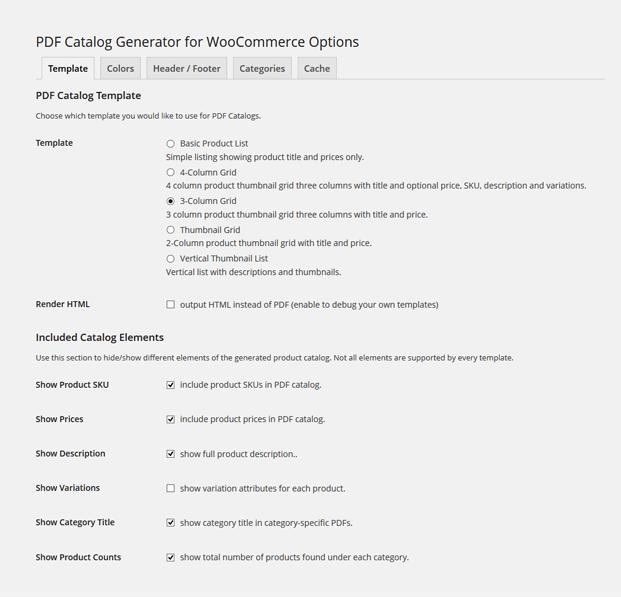 Product Catalog WordPress Plugin - Template Settings