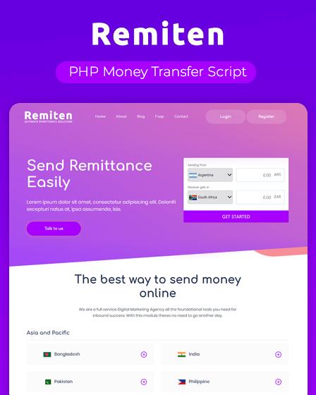 Remiten - PHP Money Transfer Script | InkThemes