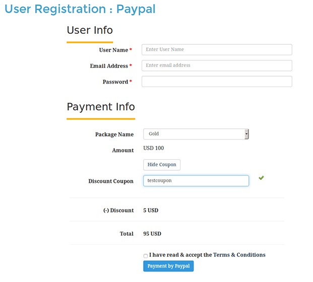 User Profile WordPress Plugin - Payment Information Section