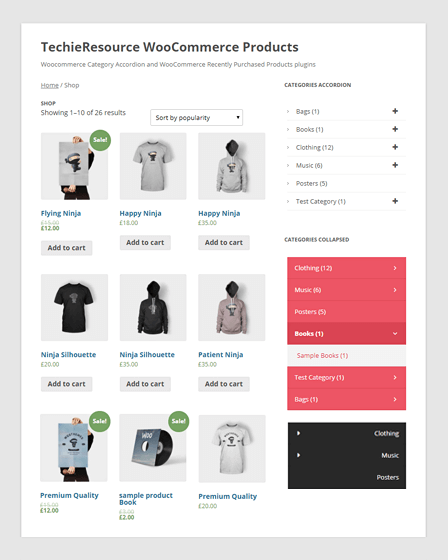 WooCommerce Category Accordion WordPress Plugin