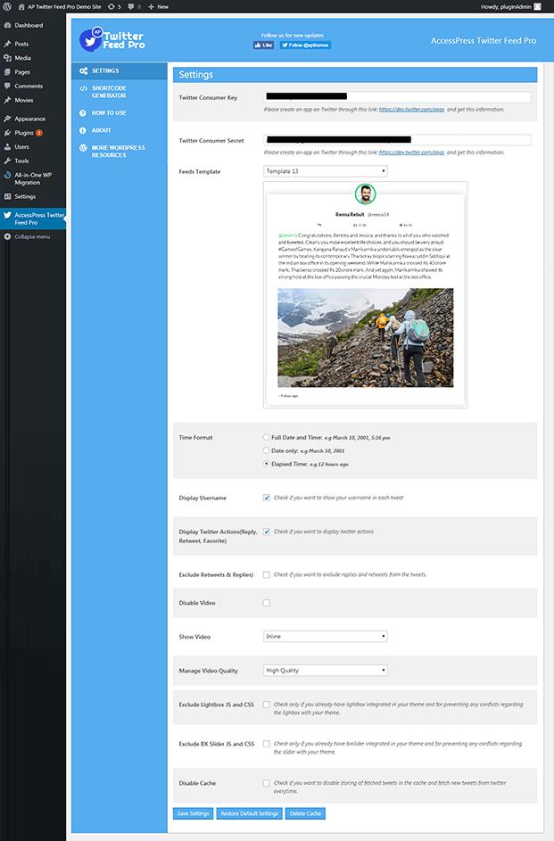 Twitter Feed WordPress Plugin - Setting Panel
