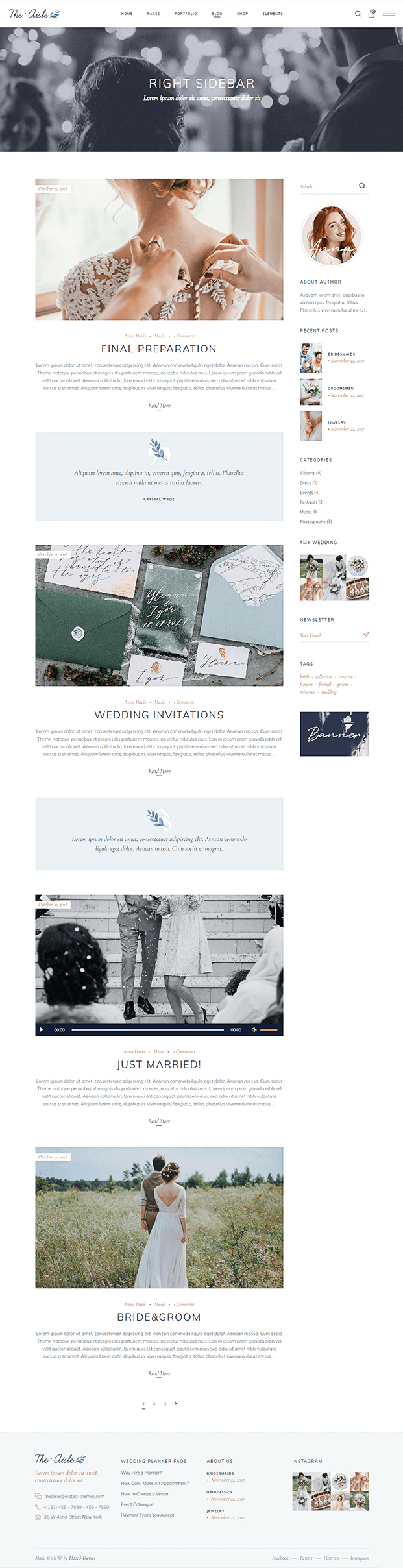 Blog Page - Wedding WP Theme