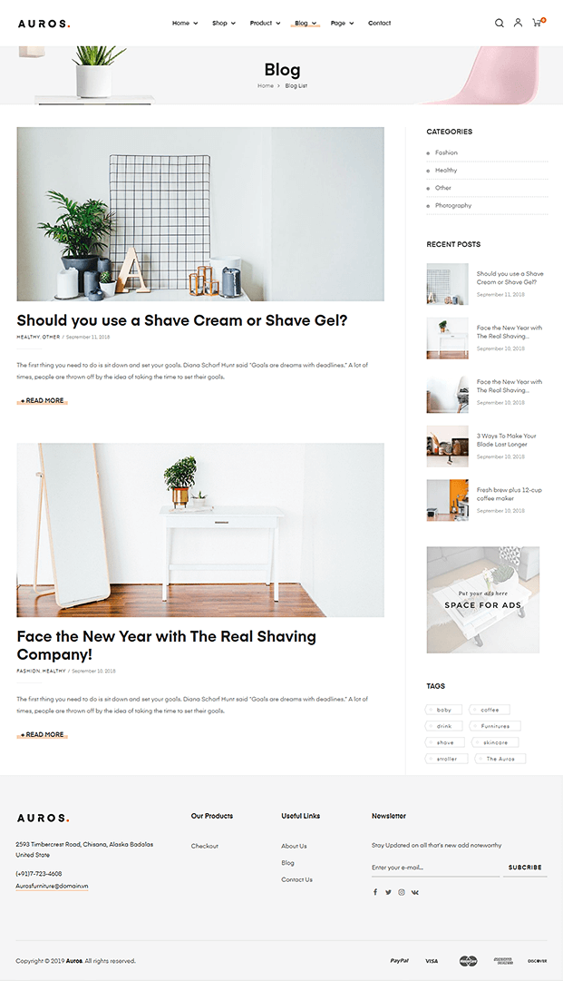 Blog - WordPress Theme For Furniture Store