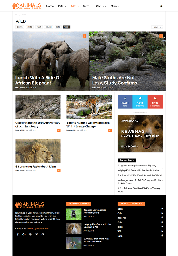 Category Wild - Editorial WordPress Theme