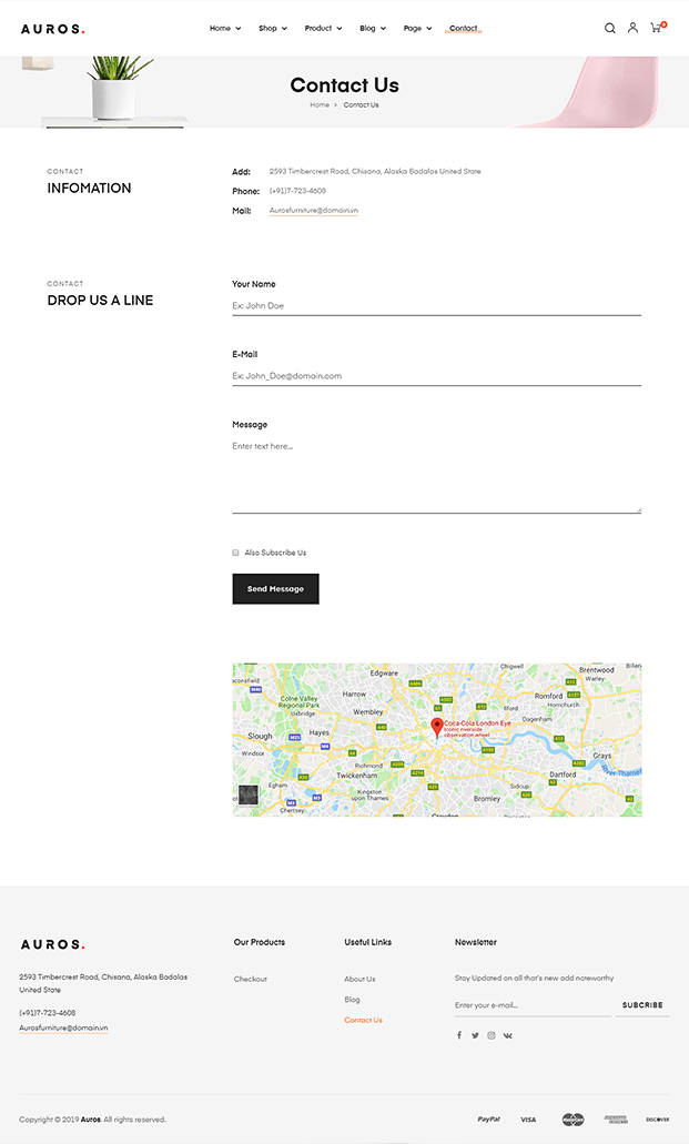 Contact Page - WordPress Theme For Furniture Store