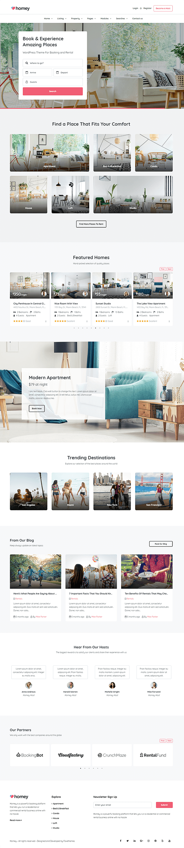Home Page - Online Booking WordPress Theme