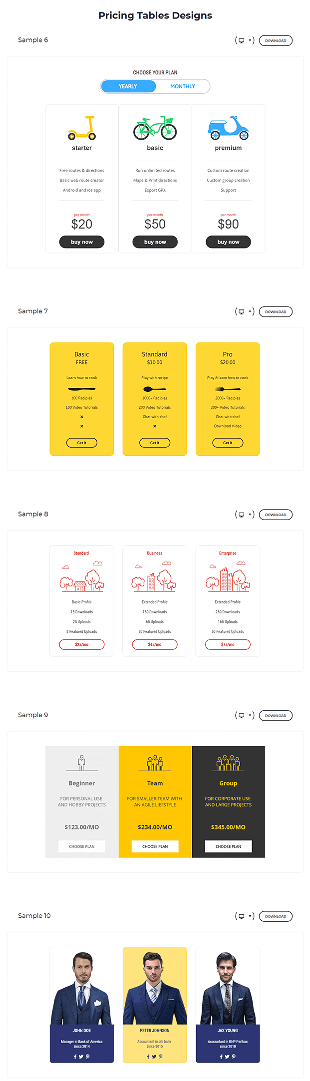 Pricing Table WordPress Plugin - Pricing Table Design Examples