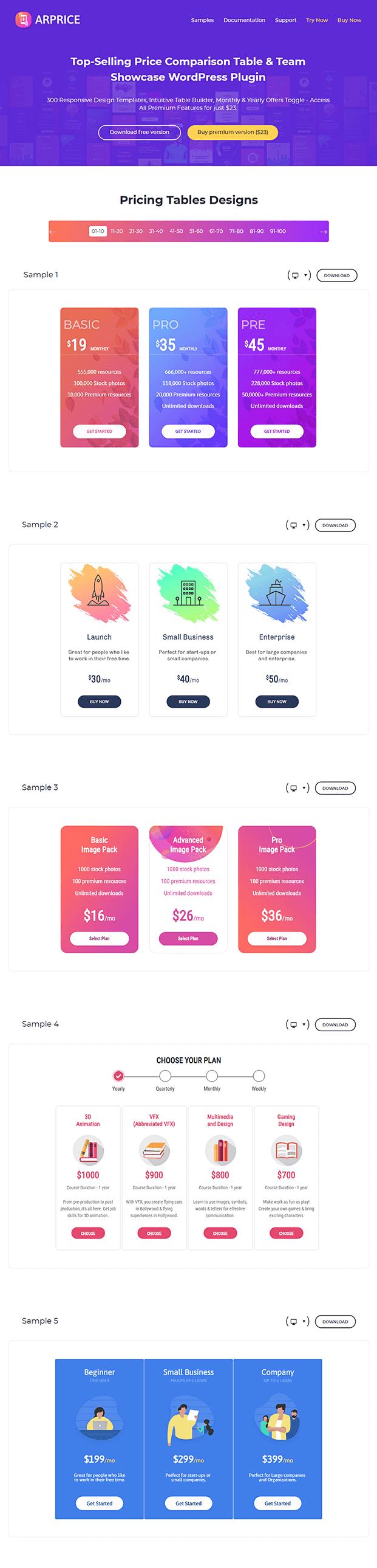 Pricing Table WordPress Plugin - Pricing Table Designs