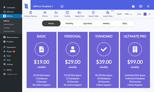 WordPress Pricing Table Plugin - Dashboard