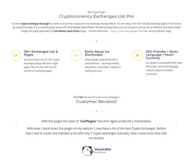 Cryptocurrency Exchanges List Pro Plugin - Features