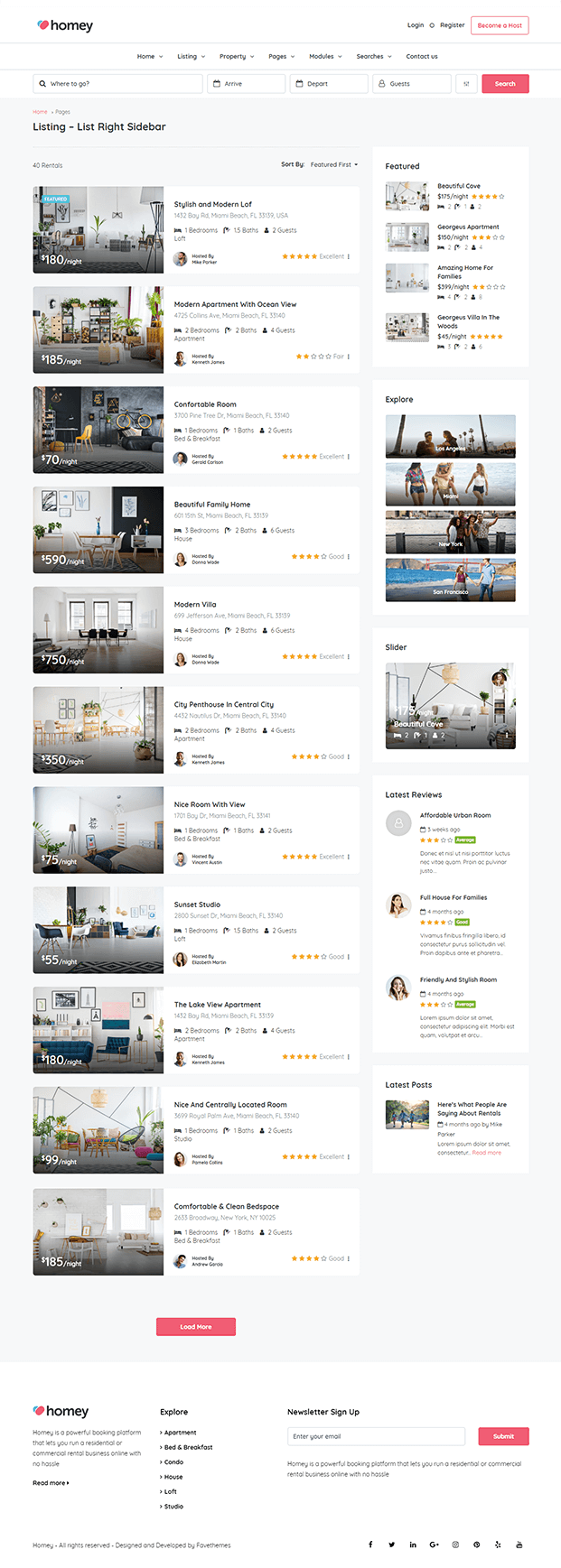 Listing - Online Booking WordPress Theme