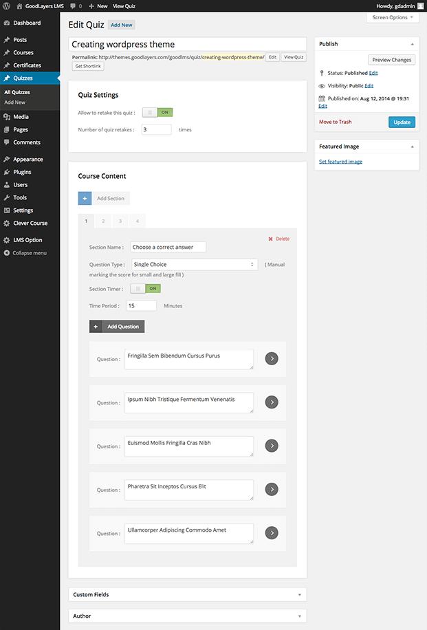 Quiz-Learning Management System WordPress Plugin