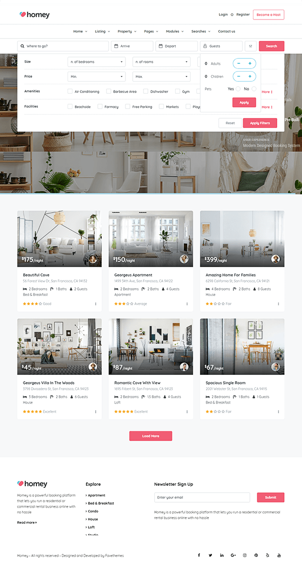 Searches - Online Booking WordPress Theme