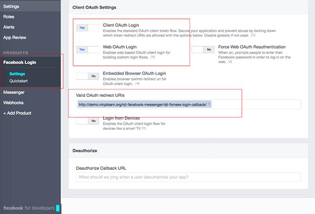 Client OAuth Settings-Facebook Messenger WordPress Plugin
