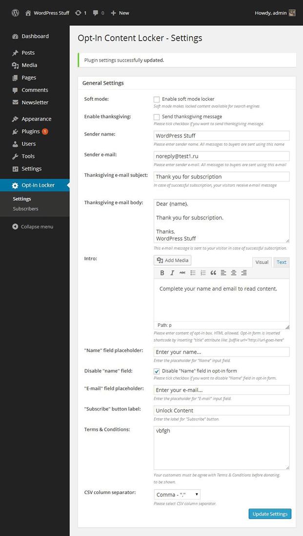 Settings-Content Locker WordPress Plugin