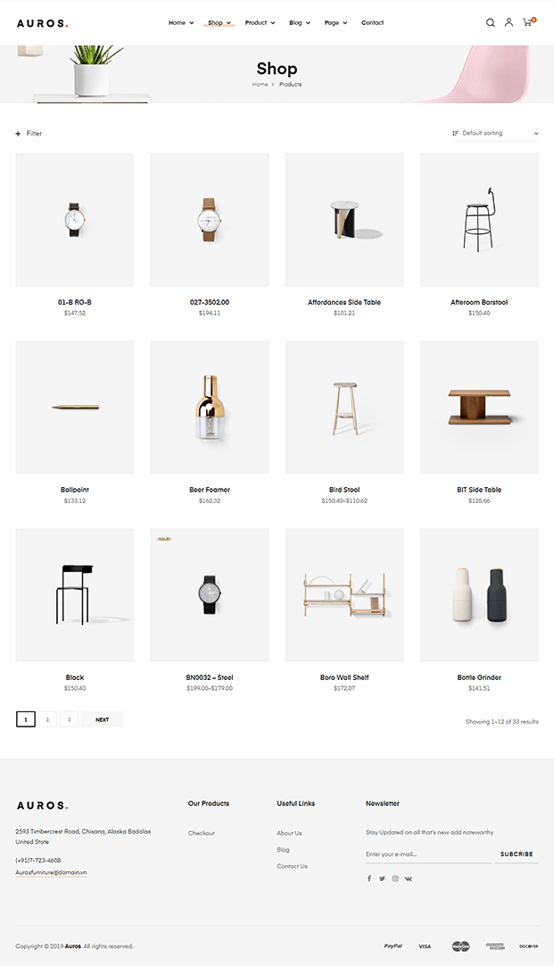 Shop - WordPress Theme For Furniture Store