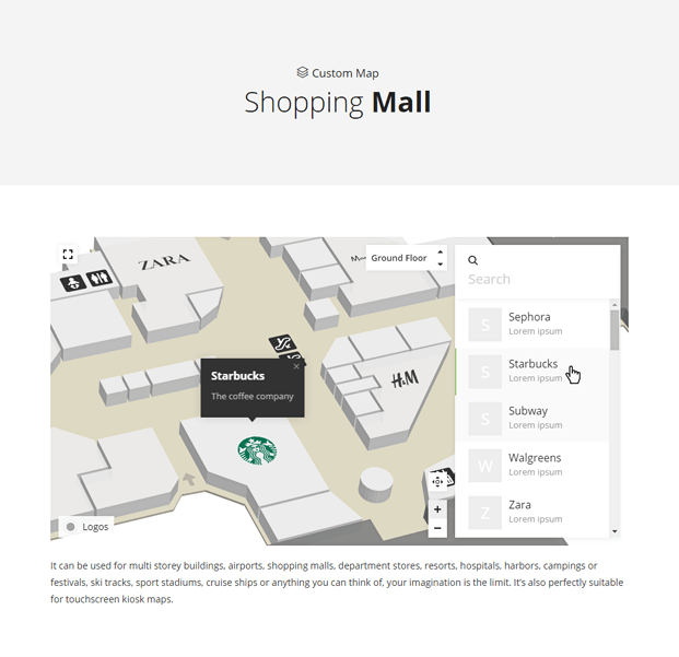 Shopping Mall WordPress Interactive Map Plugin