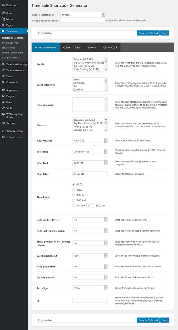 Timetable Shortcode Generator