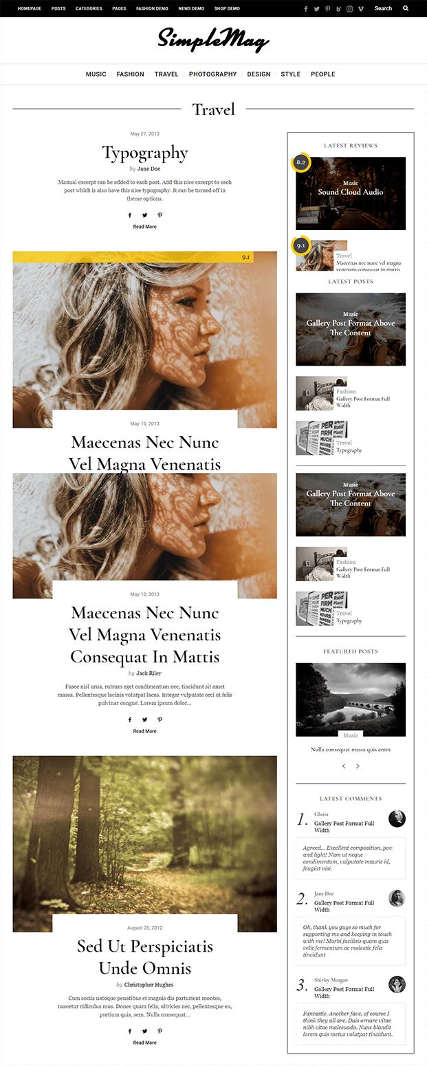 Travel - WordPress Online Magazine Theme
