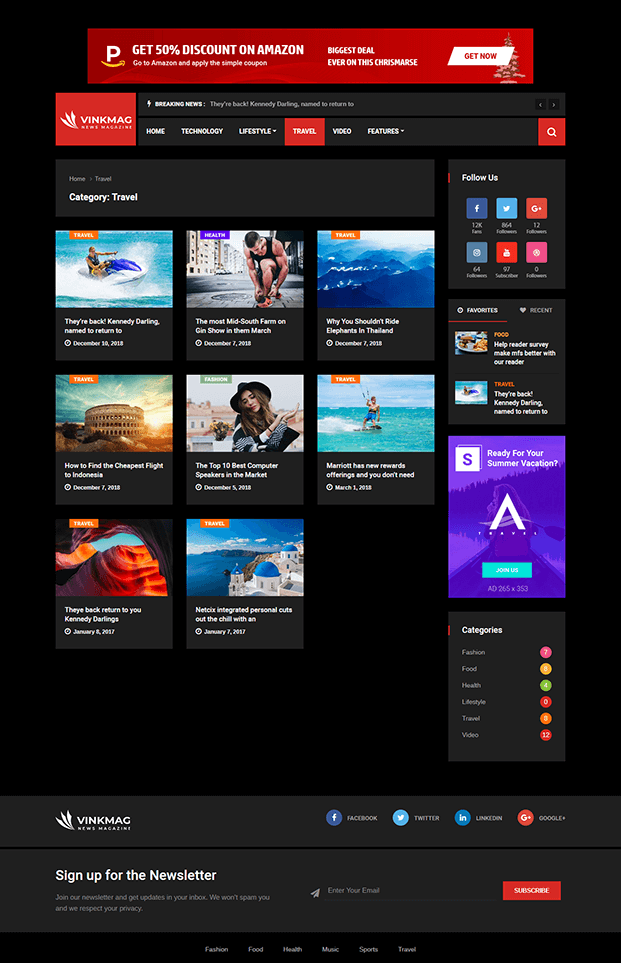 Travel - News WP theme