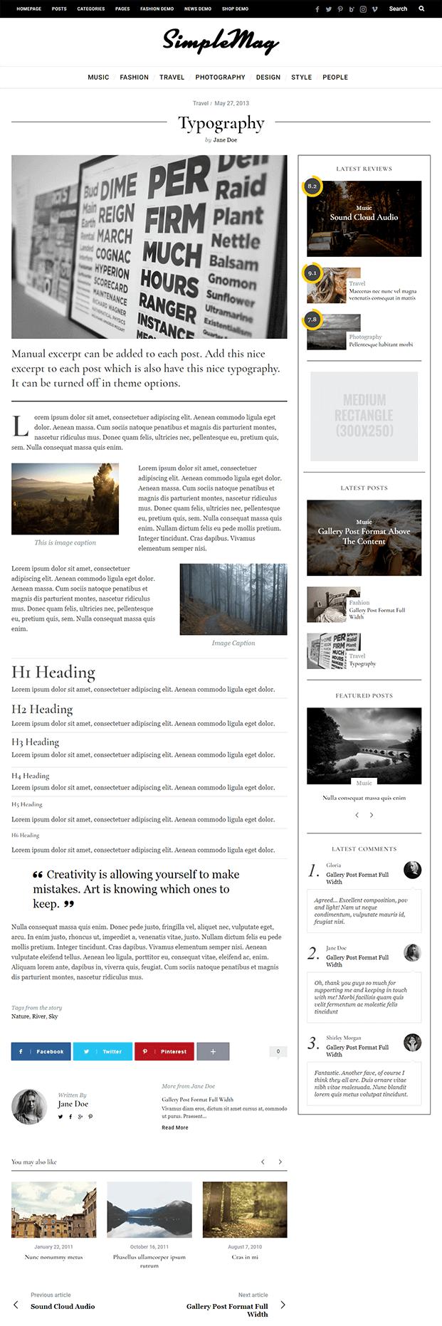 Typography - WordPress Online Magazine Theme
