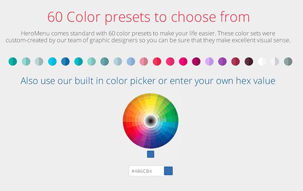 Color Presets - Custom WordPress Menu Plugin