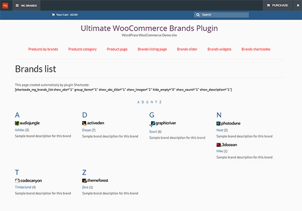 Listing Page - WooCommerce Brands Plugin